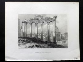 Costello 1861 Antique Print. Temple of Concord, Rome.